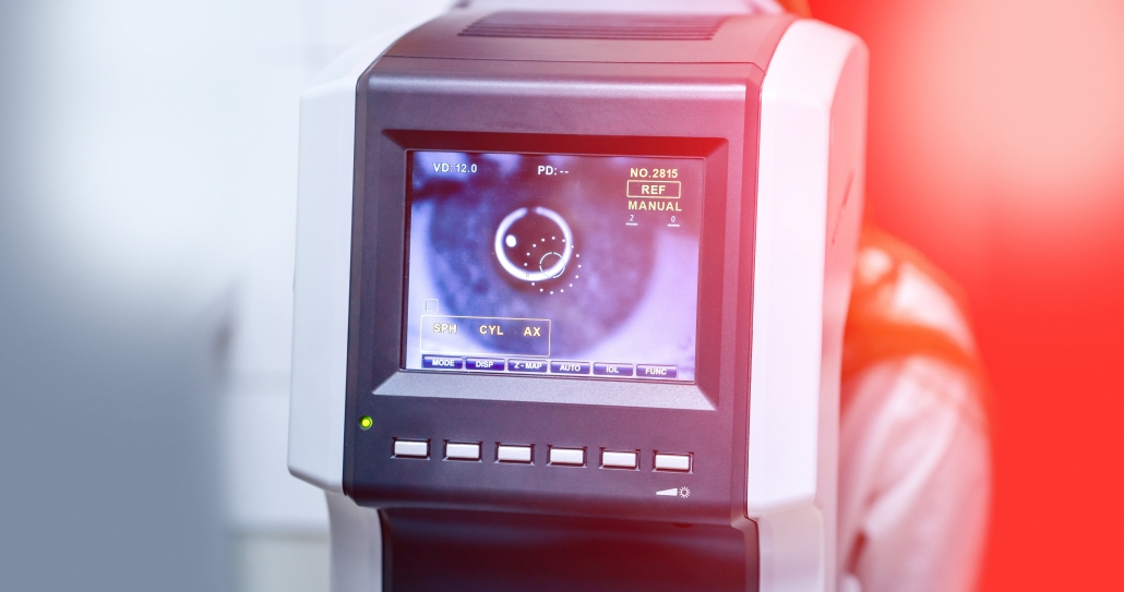 Medical ophtalmology equipment for eyes check up. Eyesight tests.