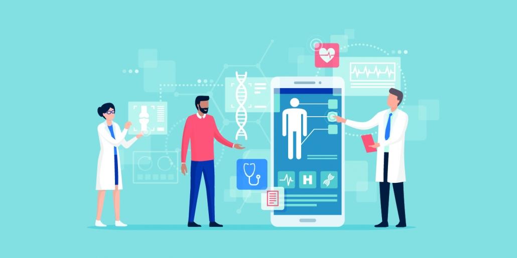 Doctors examining a patient using a medical app